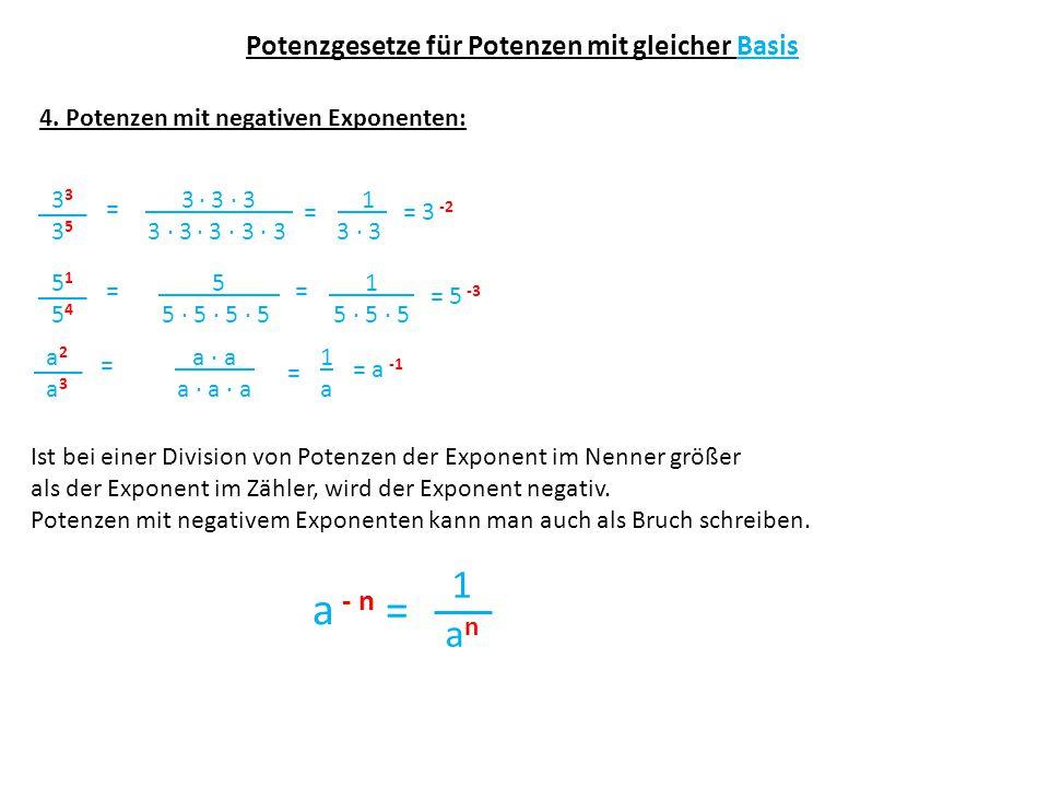 Potenzgesetze für Potenzen mit gleicher Basis 4. Potenzen mit negativen Exponenten: 3 33353335 3 ∙ 3 ∙ 3 3 ∙ 3 ∙ 3 ∙ 3 ∙ 3 = = 3 -2 51545154 5 5 ∙ 5 ∙