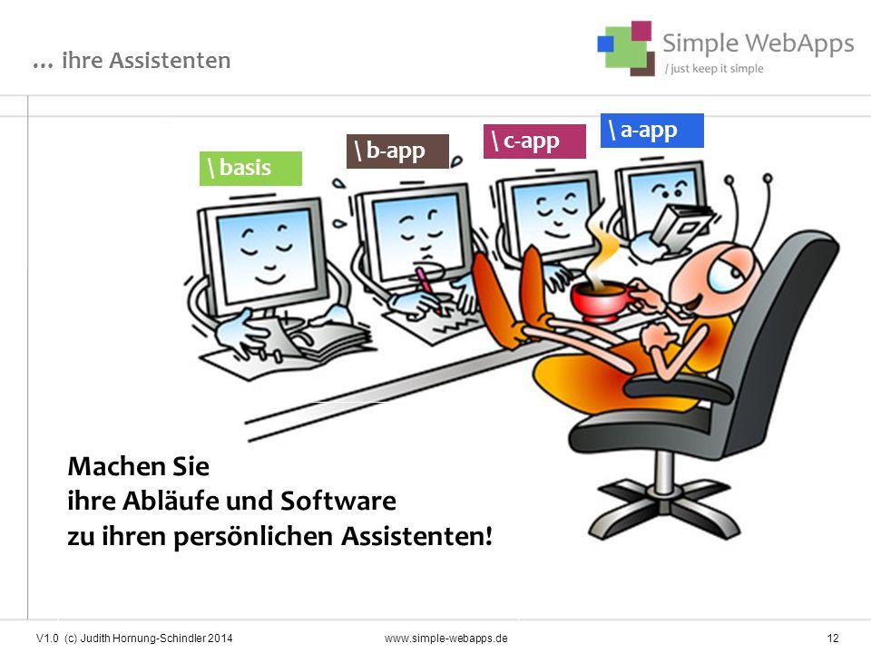 … ihre Assistenten Machen Sie ihre Abläufe und Software zu ihren persönlichen Assistenten! \ basis \ a-app \ c-app \ b-app V1.0 (c) Judith Hornung-Sch
