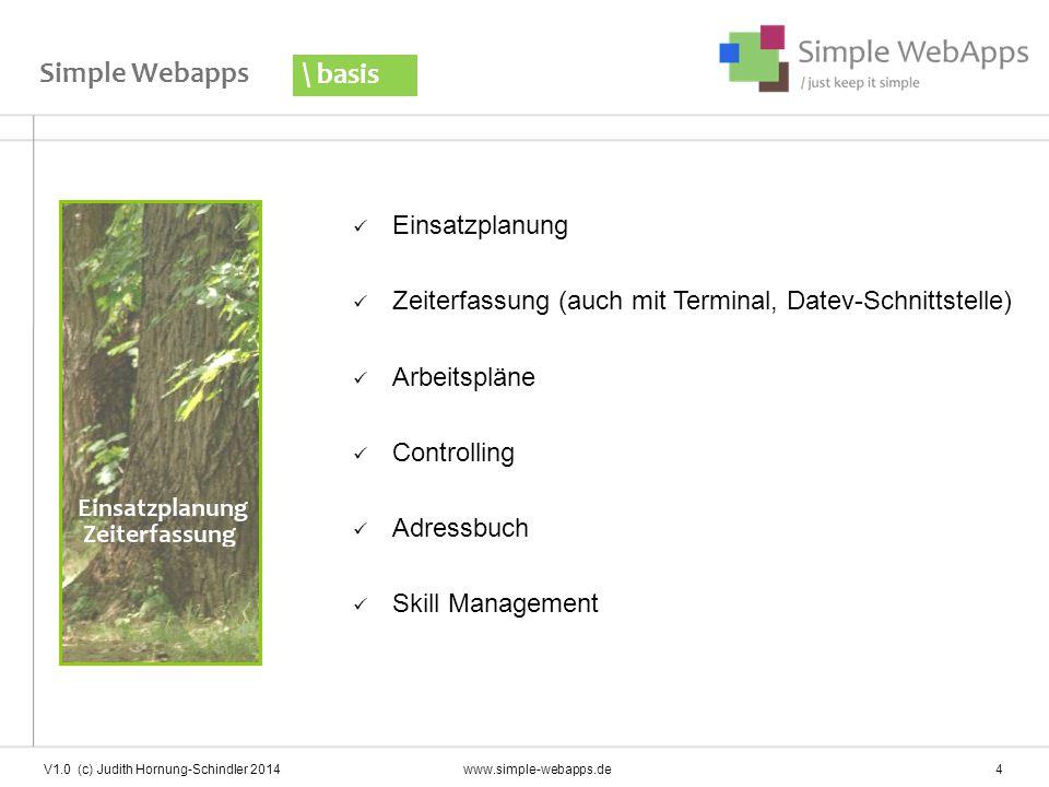 Simple Webapps Einsatzplanung Zeiterfassung (auch mit Terminal, Datev-Schnittstelle) Arbeitspläne Controlling Adressbuch Skill Management \ basis V1.0