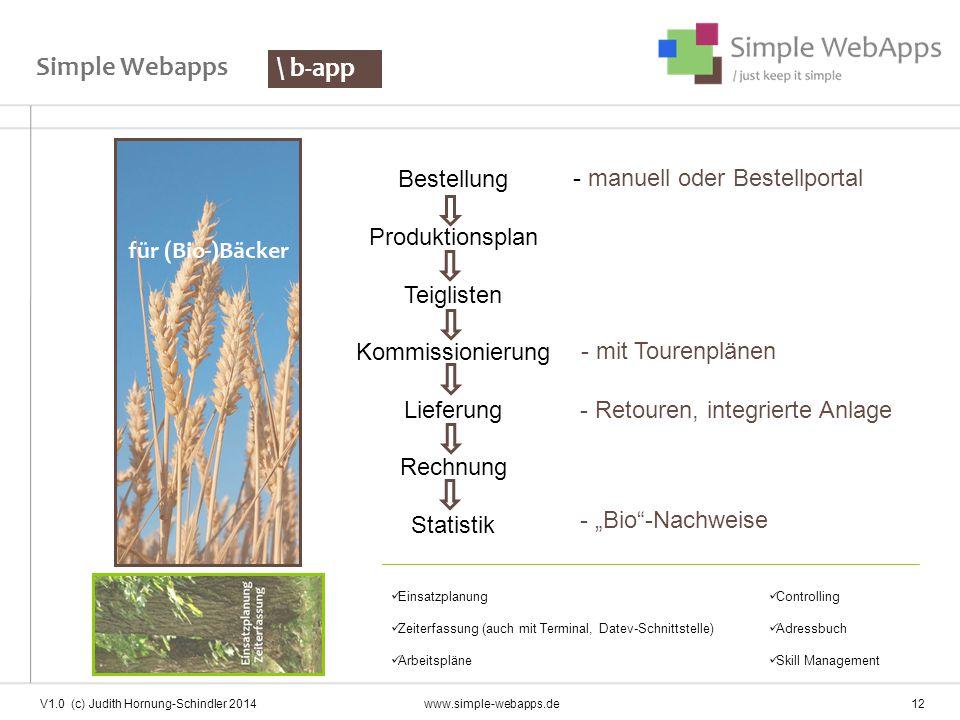 Simple Webapps Bestellung Produktionsplan Teiglisten Kommissionierung Lieferung Rechnung Statistik \ b-app - mit Tourenplänen - Retouren, integrierte