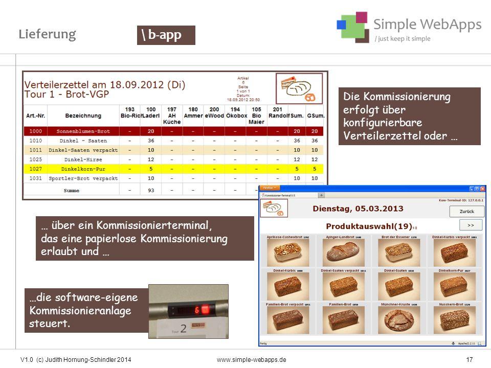 V1.0 (c) Judith Hornung-Schindler 2014 www.simple-webapps.de 17 Die Kommissionierung erfolgt über konfigurierbare Verteilerzettel oder … … über ein Ko