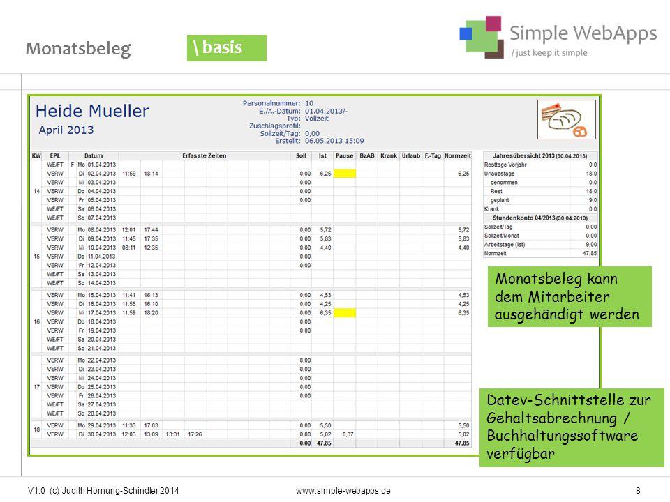 V1.0 (c) Judith Hornung-Schindler 2014 www.simple-webapps.de 8 Monatsbeleg \ basis Monatsbeleg kann dem Mitarbeiter ausgehändigt werden Datev-Schnitts