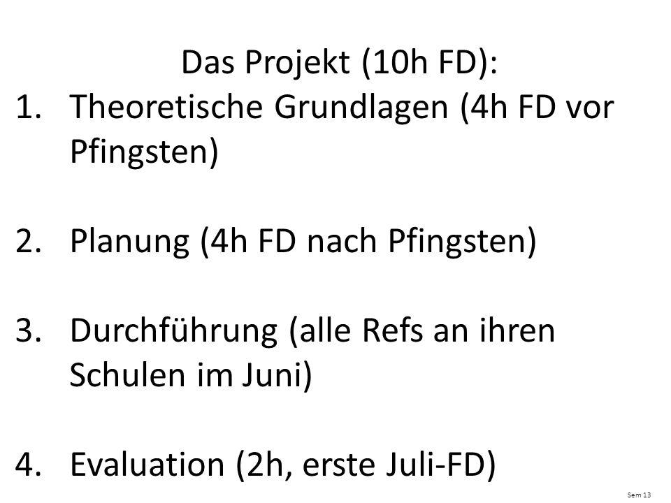 Das Projekt (10h FD): 1.Theoretische Grundlagen (4h FD vor Pfingsten) 2.Planung (4h FD nach Pfingsten) 3.Durchführung (alle Refs an ihren Schulen im Juni) 4.Evaluation (2h, erste Juli-FD) Sem 13