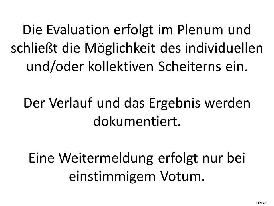 Die Evaluation erfolgt im Plenum und schließt die Möglichkeit des individuellen und/oder kollektiven Scheiterns ein.