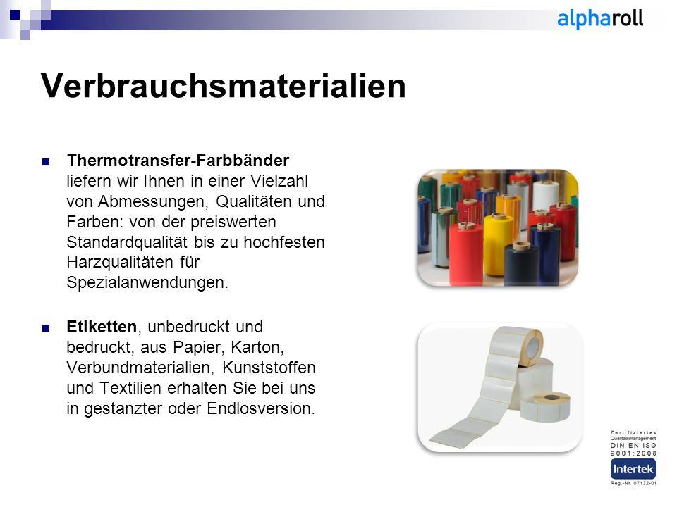 Verbrauchsmaterialien Thermotransfer-Farbbänder liefern wir Ihnen in einer Vielzahl von Abmessungen, Qualitäten und Farben: von der preiswerten Standardqualität bis zu hochfesten Harzqualitäten für Spezialanwendungen.