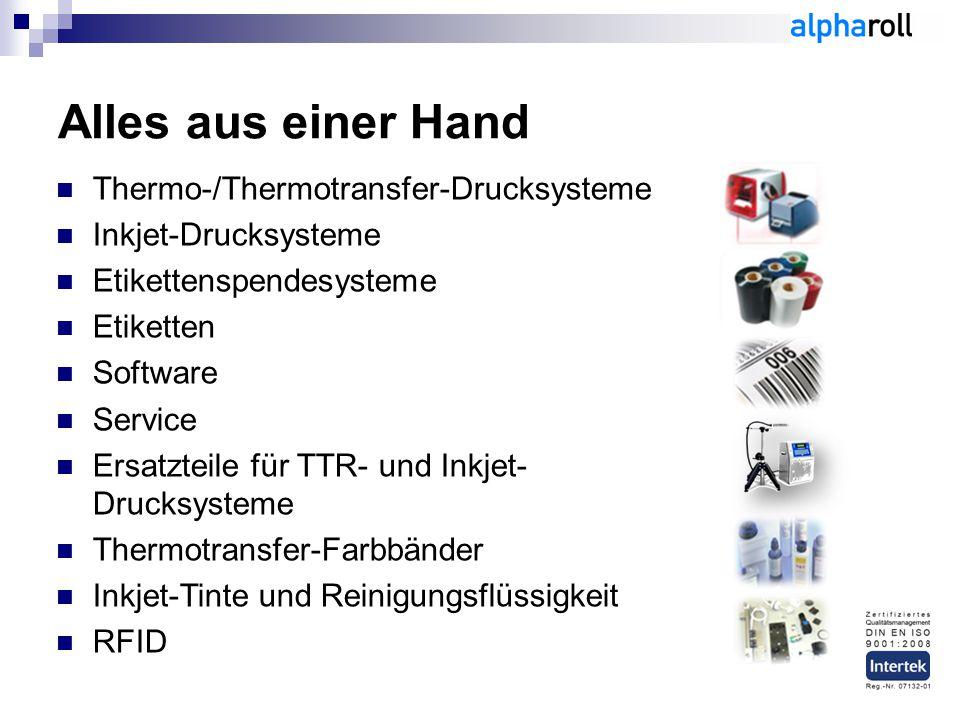 Thermo-/Thermotransfer-Drucksysteme Inkjet-Drucksysteme Etikettenspendesysteme Etiketten Software Service Ersatzteile für TTR- und Inkjet- Drucksysteme Thermotransfer-Farbbänder Inkjet-Tinte und Reinigungsflüssigkeit RFID Alles aus einer Hand