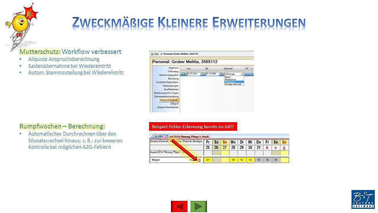 Beispiel: Fehler-Erkennung bereits im Juli!!