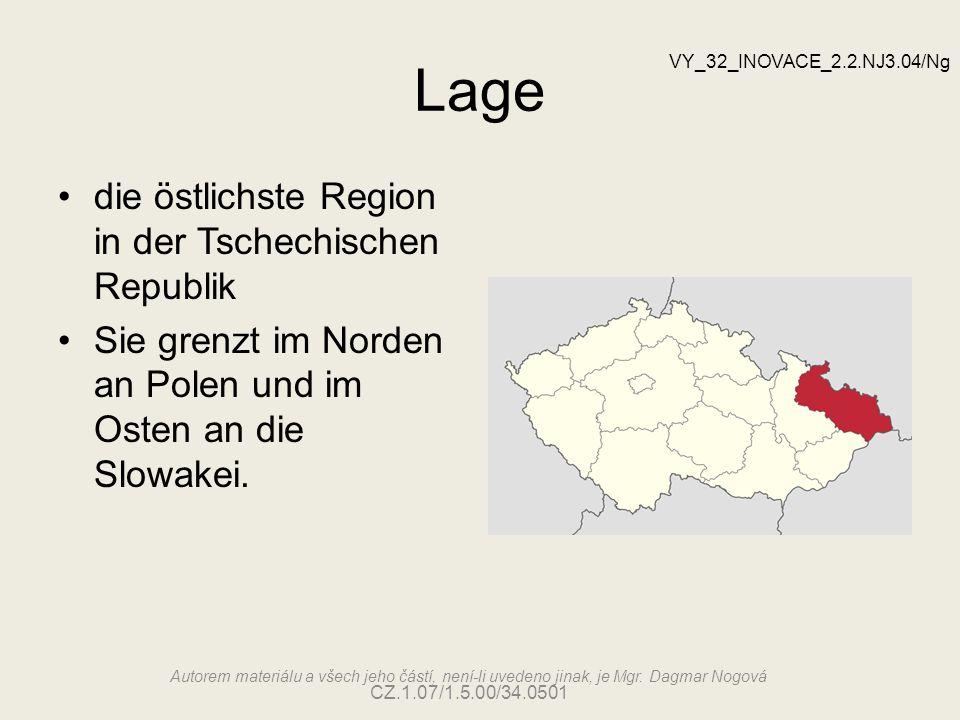 Lage die östlichste Region in der Tschechischen Republik Sie grenzt im Norden an Polen und im Osten an die Slowakei.