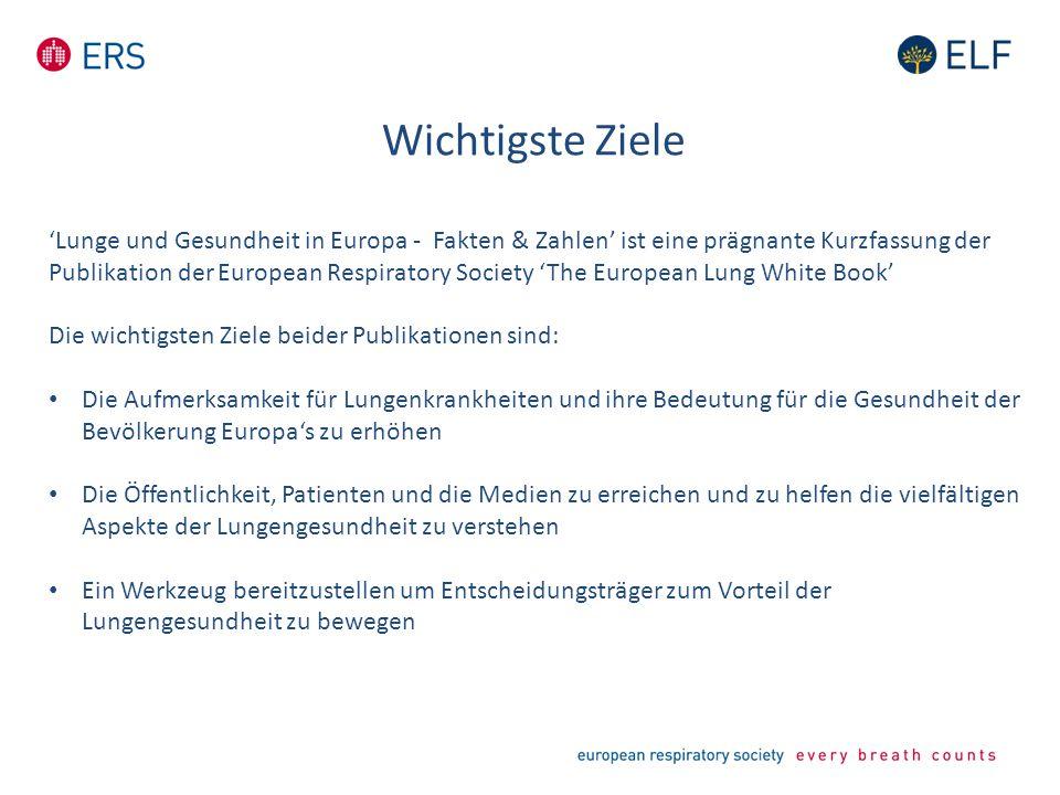 Wichtigste Ziele 'Lunge und Gesundheit in Europa - Fakten & Zahlen' ist eine prägnante Kurzfassung der Publikation der European Respiratory Society 'T