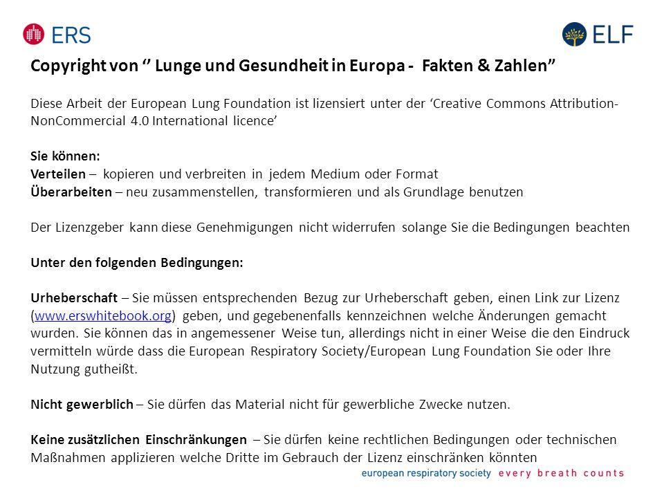 """Copyright von '' Lunge und Gesundheit in Europa - Fakten & Zahlen"""" Diese Arbeit der European Lung Foundation ist lizensiert unter der 'Creative Common"""