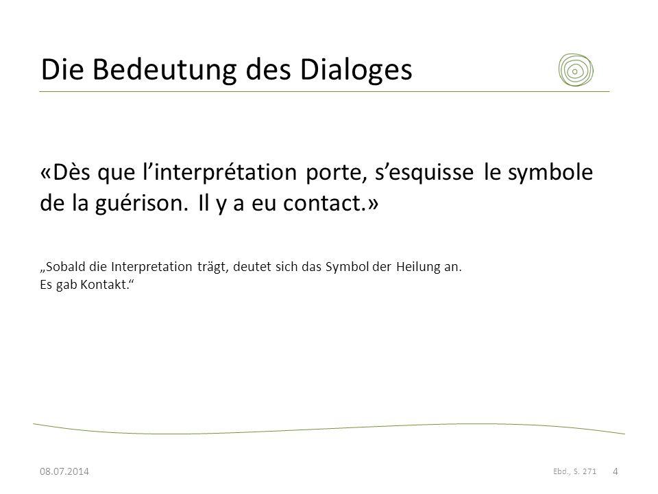 Die Bedeutung des Dialoges «Dès que l'interprétation porte, s'esquisse le symbole de la guérison.