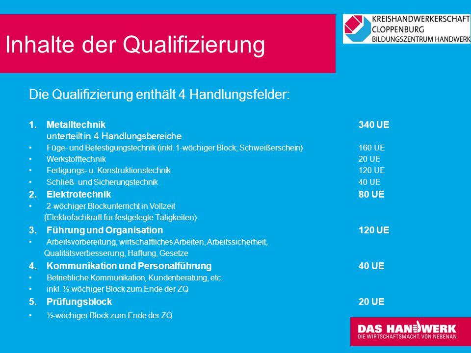 Inhalte der Qualifizierung Die Qualifizierung enthält 4 Handlungsfelder: 1.Metalltechnik340 UE unterteilt in 4 Handlungsbereiche Füge- und Befestigung