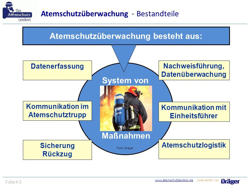 Atemschutzüberwachung besteht aus: System von Maßnahmen Foto: Dräger Datenerfassung Kommunikation im Atemschutztrupp Sicherung Rückzug Kommunikation m