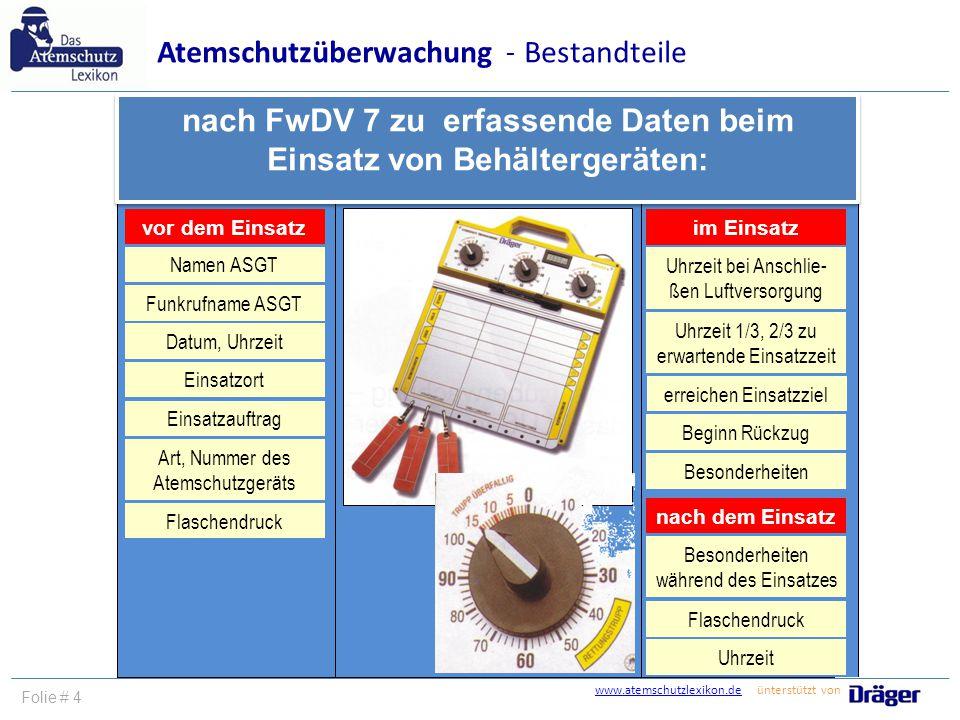 vor dem Einsatz nach FwDV 7 zu erfassende Daten beim Einsatz von Behältergeräten: im Einsatz nach dem Einsatz Einsatzort Flaschendruck Namen ASGT Datu