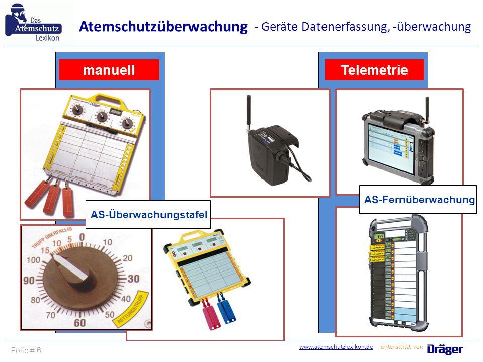 manuellTelemetrie AS-Fernüberwachung AS-Überwachungstafel Atemschutzüberwachung Folie # 6 www.atemschutzlexikon.dewww.atemschutzlexikon.de ünterstützt