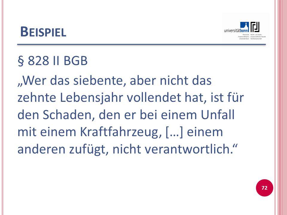 """B EISPIEL § 828 II BGB """"Wer das siebente, aber nicht das zehnte Lebensjahr vollendet hat, ist für den Schaden, den er bei einem Unfall mit einem Kraft"""