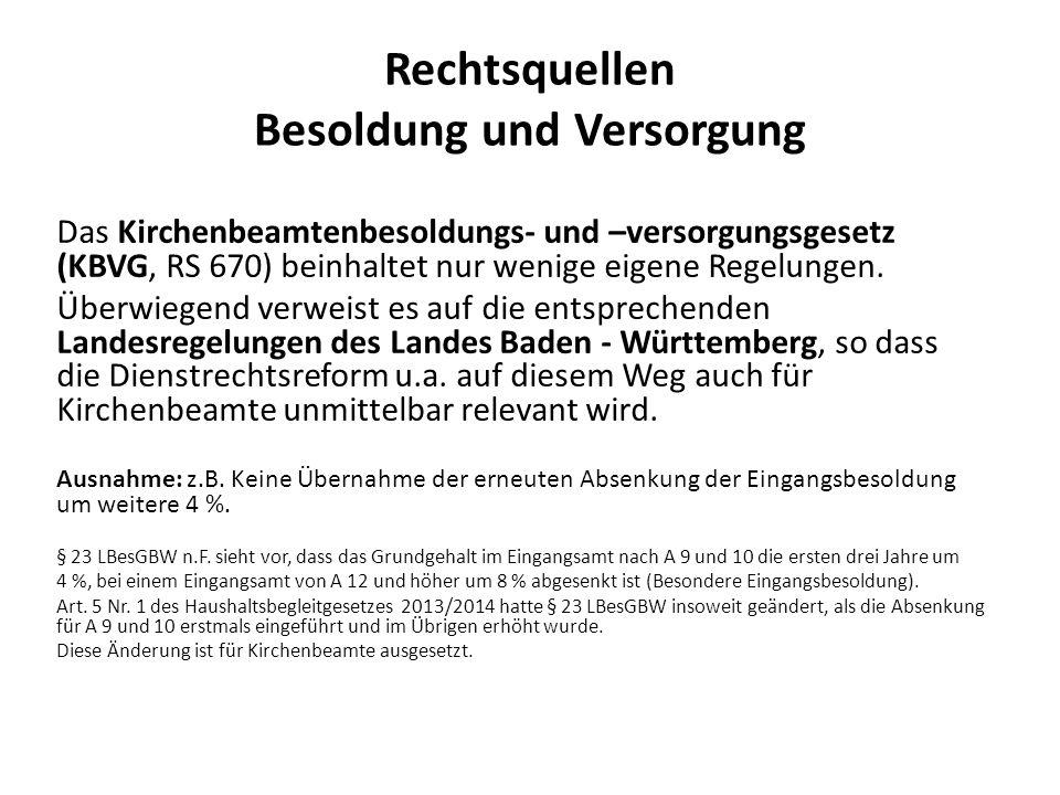 Rechtsquellen Besoldung und Versorgung Das Kirchenbeamtenbesoldungs- und –versorgungsgesetz (KBVG, RS 670) beinhaltet nur wenige eigene Regelungen. Üb