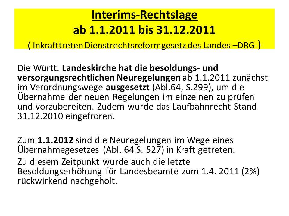 Interims-Rechtslage ab 1.1.2011 bis 31.12.2011 ( Inkrafttreten Dienstrechtsreformgesetz des Landes –DRG- ) Die Württ. Landeskirche hat die besoldungs-