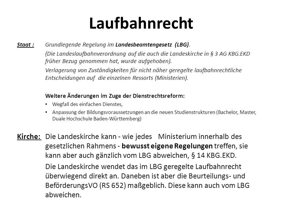 Laufbahnrecht Staat :Grundlegende Regelung im Landesbeamtengesetz (LBG). (Die Landeslaufbahnverordnung auf die auch die Landeskirche in § 3 AG KBG.EK