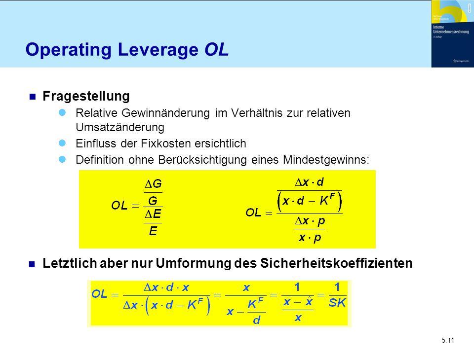 5.11 Operating Leverage OL n Fragestellung Relative Gewinnänderung im Verhältnis zur relativen Umsatzänderung Einfluss der Fixkosten ersichtlich Defin
