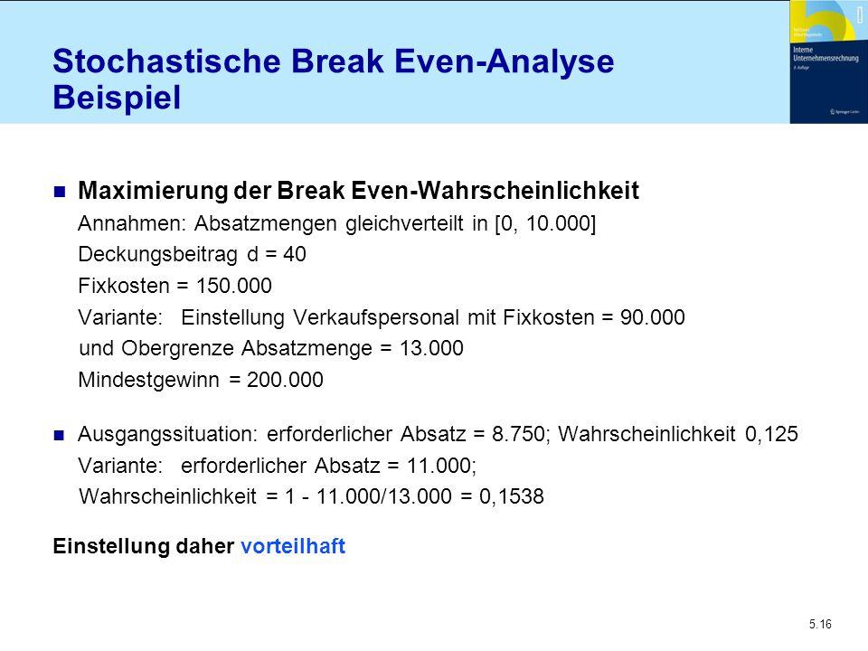 5.16 Stochastische Break Even-Analyse Beispiel n Maximierung der Break Even-Wahrscheinlichkeit Annahmen: Absatzmengen gleichverteilt in [0, 10.000] De