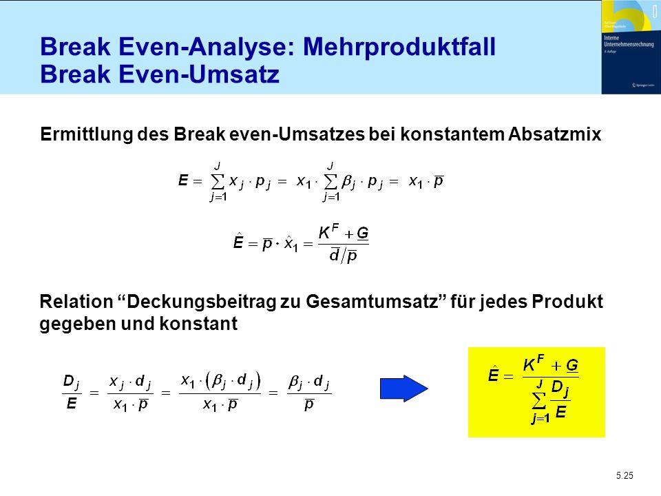 """5.25 Break Even-Analyse: Mehrproduktfall Break Even-Umsatz Ermittlung des Break even-Umsatzes bei konstantem Absatzmix Relation """"Deckungsbeitrag zu Ge"""