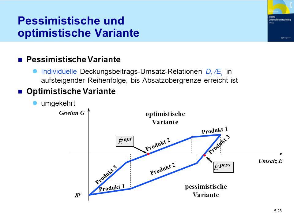 5.28 Pessimistische und optimistische Variante n Pessimistische Variante Individuelle Deckungsbeitrags-Umsatz-Relationen D j /E j in aufsteigender Rei