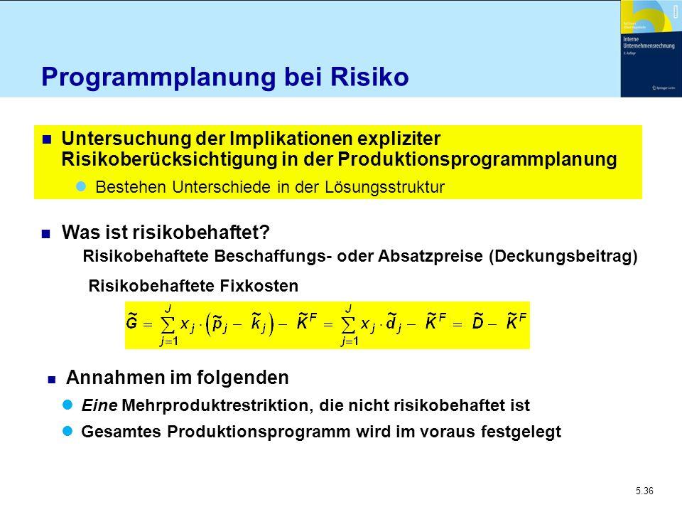 5.36 Programmplanung bei Risiko n Untersuchung der Implikationen expliziter Risikoberücksichtigung in der Produktionsprogrammplanung Bestehen Untersch