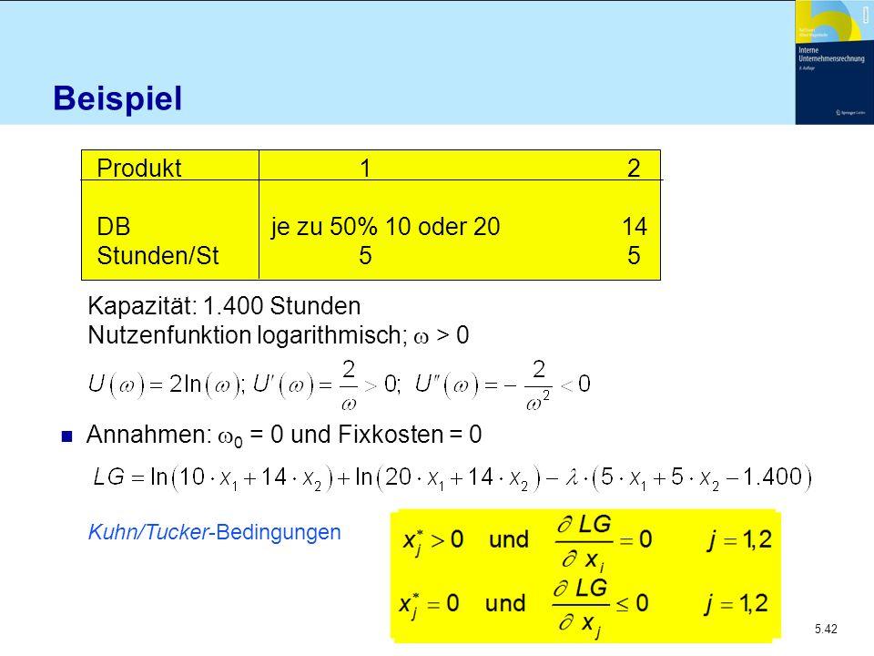 5.42 Beispiel Produkt 1 2 DBje zu 50% 10 oder 2014 Stunden/St5 5 Kapazität: 1.400 Stunden Nutzenfunktion logarithmisch;  > 0 Annahmen:  0 = 0 und Fi