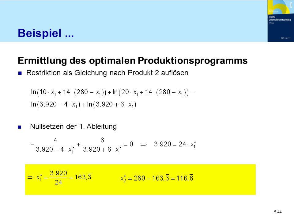 5.44 Beispiel... Ermittlung des optimalen Produktionsprogramms Restriktion als Gleichung nach Produkt 2 auflösen Nullsetzen der 1. Ableitung