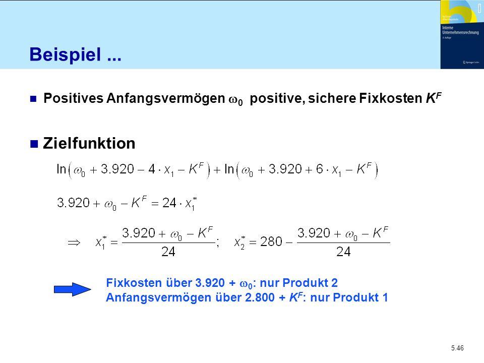 5.46 Beispiel... Positives Anfangsvermögen  0 positive, sichere Fixkosten K F n Zielfunktion Fixkosten über 3.920 +  0 : nur Produkt 2 Anfangsvermög