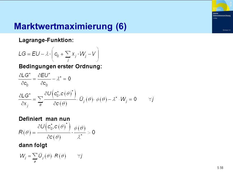 5.58 Marktwertmaximierung (6) Lagrange-Funktion: Bedingungen erster Ordnung: Definiert man nun dann folgt