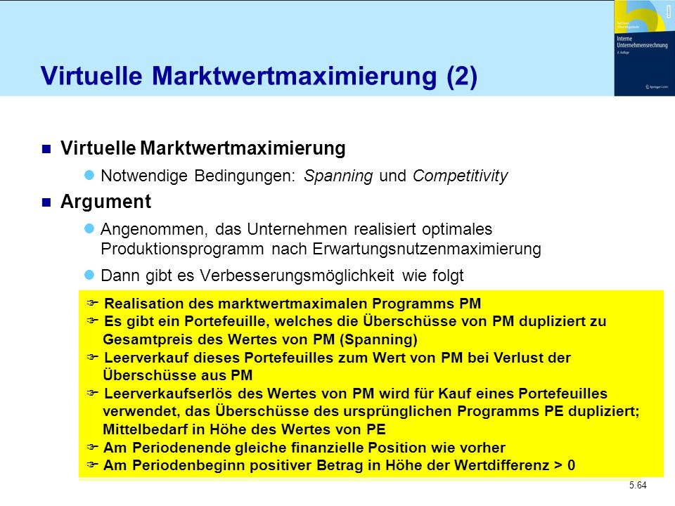 5.64 Virtuelle Marktwertmaximierung (2) n Virtuelle Marktwertmaximierung Notwendige Bedingungen: Spanning und Competitivity n Argument Angenommen, das