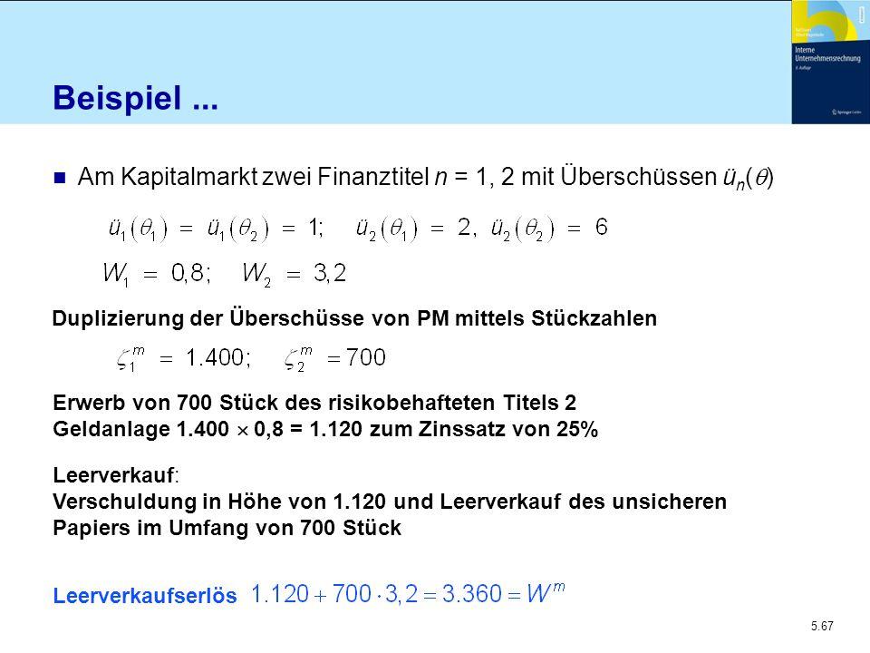 5.67 Beispiel... Am Kapitalmarkt zwei Finanztitel n = 1, 2 mit Überschüssen ü n (  ) Duplizierung der Überschüsse von PM mittels Stückzahlen Erwerb v