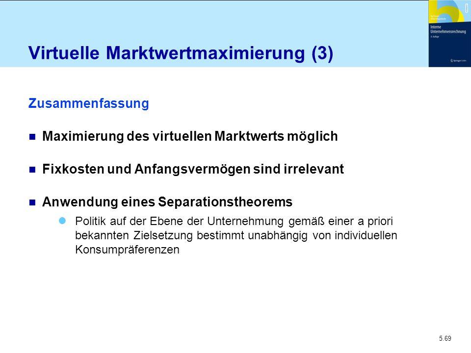 5.69 Virtuelle Marktwertmaximierung (3) Zusammenfassung n Maximierung des virtuellen Marktwerts möglich n Fixkosten und Anfangsvermögen sind irrelevan