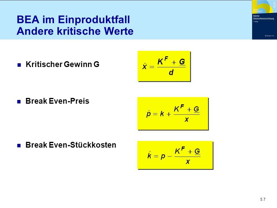 5.7 BEA im Einproduktfall Andere kritische Werte n Break Even-Stückkosten n Break Even-Preis n Kritischer Gewinn G
