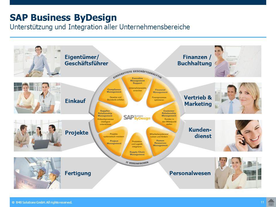 © B4B Solutions GmbH. All rights reserved. 11 SAP Business ByDesign Unterstützung und Integration aller Unternehmensbereiche Eigentümer/ Geschäftsführ