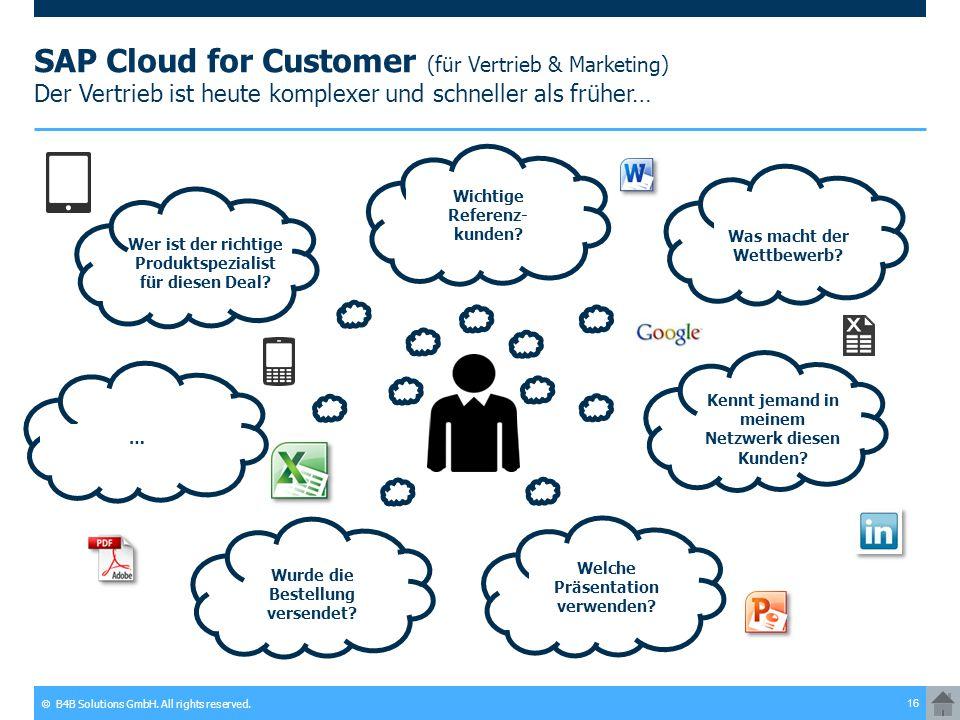 © B4B Solutions GmbH. All rights reserved. 16 SAP Cloud for Customer (für Vertrieb & Marketing) Der Vertrieb ist heute komplexer und schneller als frü