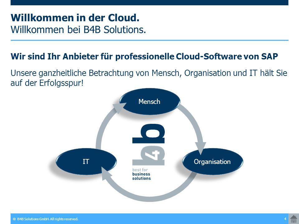 © B4B Solutions GmbH. All rights reserved. 4 Willkommen in der Cloud. Willkommen bei B4B Solutions. Wir sind Ihr Anbieter für professionelle Cloud-Sof