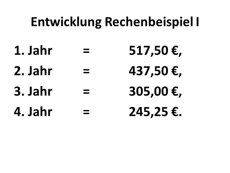 Entwicklung Rechenbeispiel I 1. Jahr=517,50 €, 2.