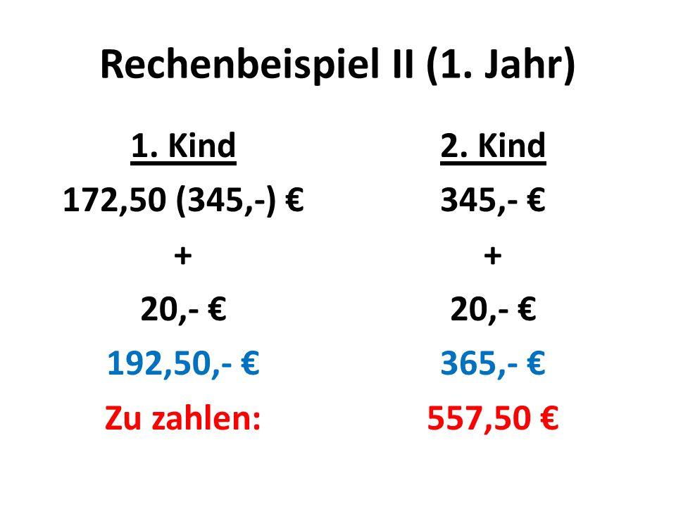 Rechenbeispiel II (1. Jahr) 1. Kind 172,50 (345,-) € + 20,- € 192,50,- € Zu zahlen: 2.
