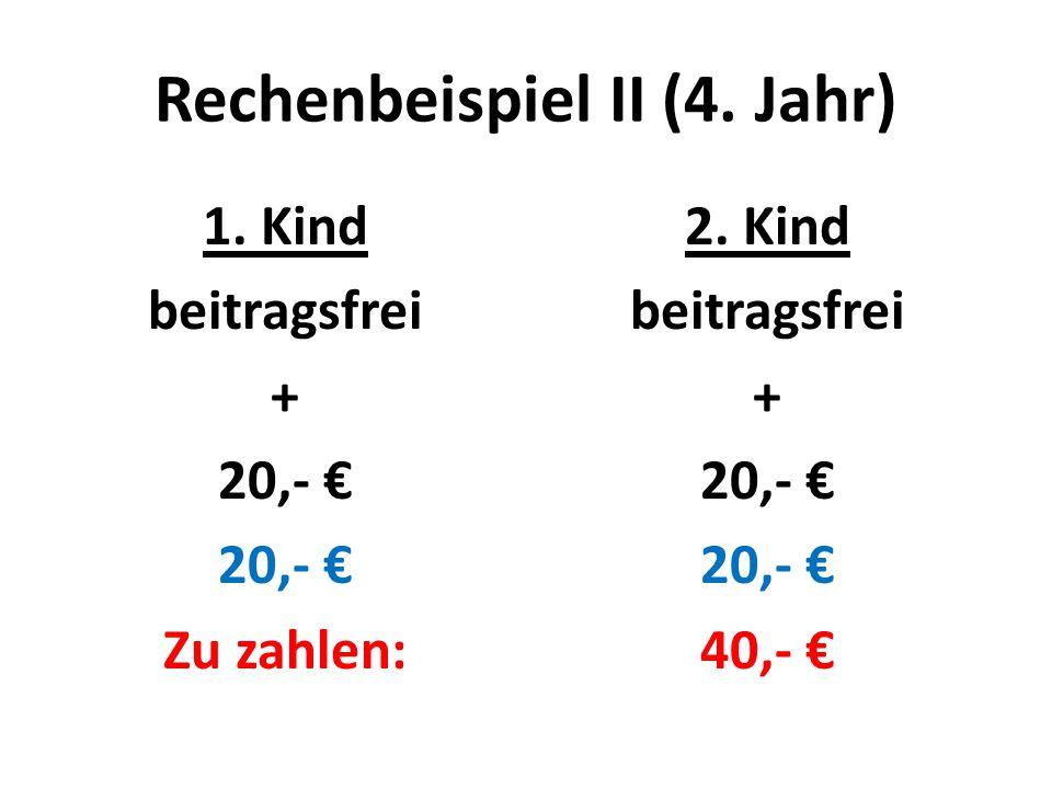 Rechenbeispiel II (4. Jahr) 1. Kind beitragsfrei + 20,- € Zu zahlen: 2.