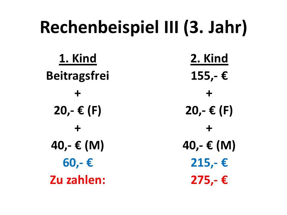 Rechenbeispiel III (3. Jahr) 1. Kind Beitragsfrei + 20,- € (F) + 40,- € (M) 60,- € Zu zahlen: 2.