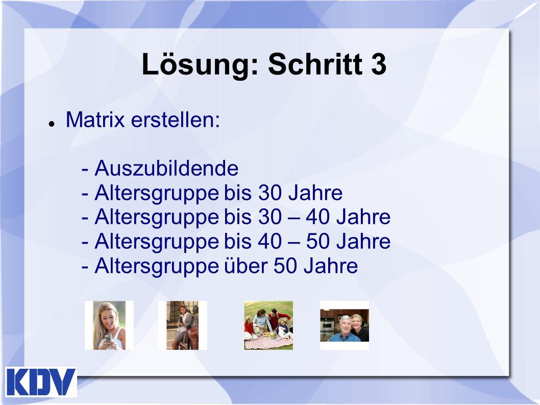 Lösung: Schritt 3 Matrix erstellen: - Auszubildende - Altersgruppe bis 30 Jahre - Altersgruppe bis 30 – 40 Jahre - Altersgruppe bis 40 – 50 Jahre - Al