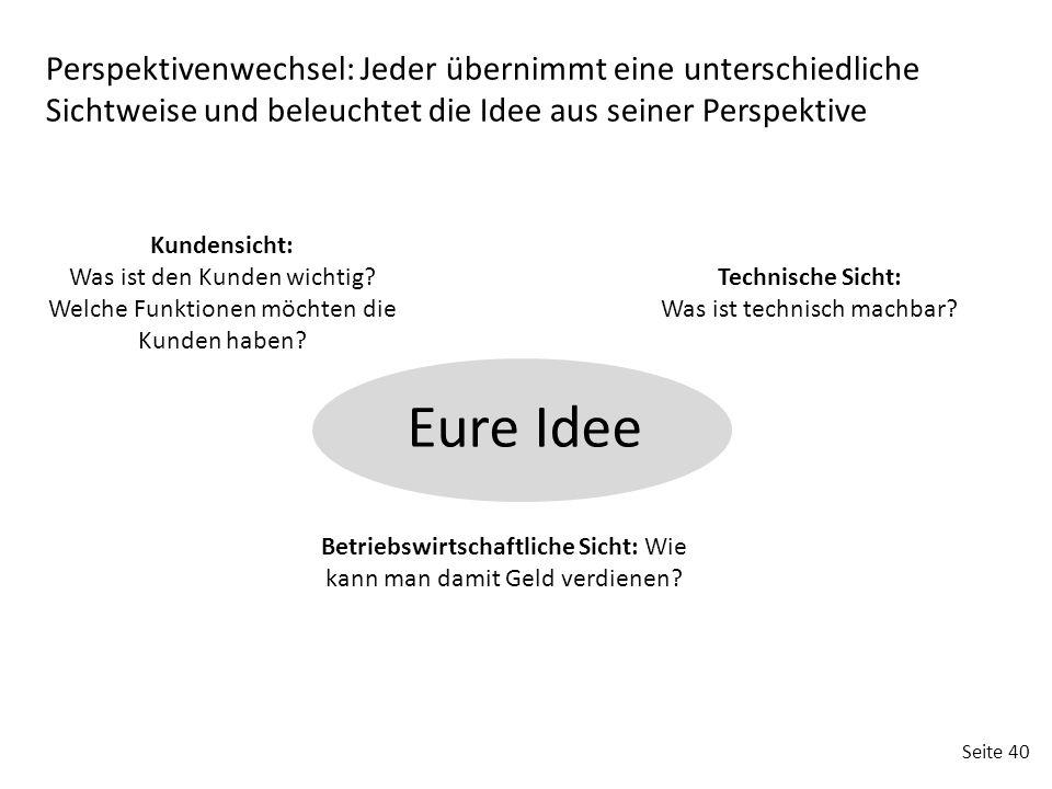 Seite 40 Perspektivenwechsel: Jeder übernimmt eine unterschiedliche Sichtweise und beleuchtet die Idee aus seiner Perspektive Kundensicht: Was ist den
