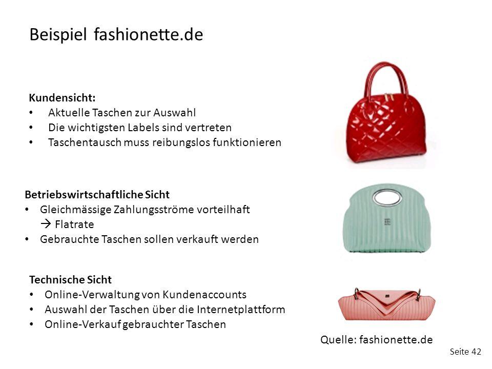 Seite 42 Beispiel fashionette.de Kundensicht: Aktuelle Taschen zur Auswahl Die wichtigsten Labels sind vertreten Taschentausch muss reibungslos funkti