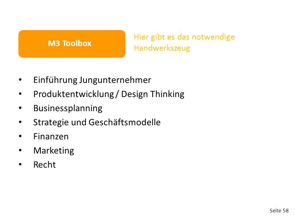 Seite 58 Einführung Jungunternehmer Produktentwicklung / Design Thinking Businessplanning Strategie und Geschäftsmodelle Finanzen Marketing Recht M3 T