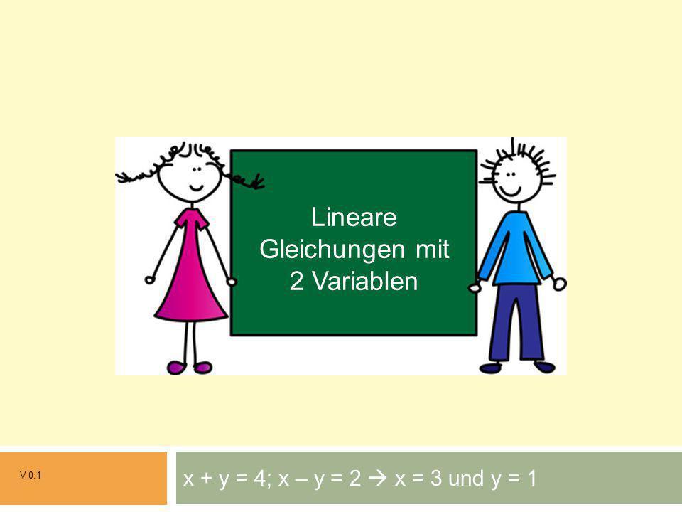 x + y = 4; x – y = 2  x = 3 und y = 1 V 0.1 Grundrechenarten Lineare Gleichungen mit 2 Variablen