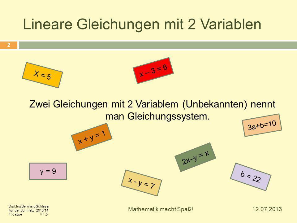 Zwei Gleichungen mit 2 Variablem (Unbekannten) nennt man Gleichungssystem. y = 9 x - y = 7 3a+b=10 2x–y = x x + y = 1 x – 3 = 6 X = 5 b = 22 12.07.201