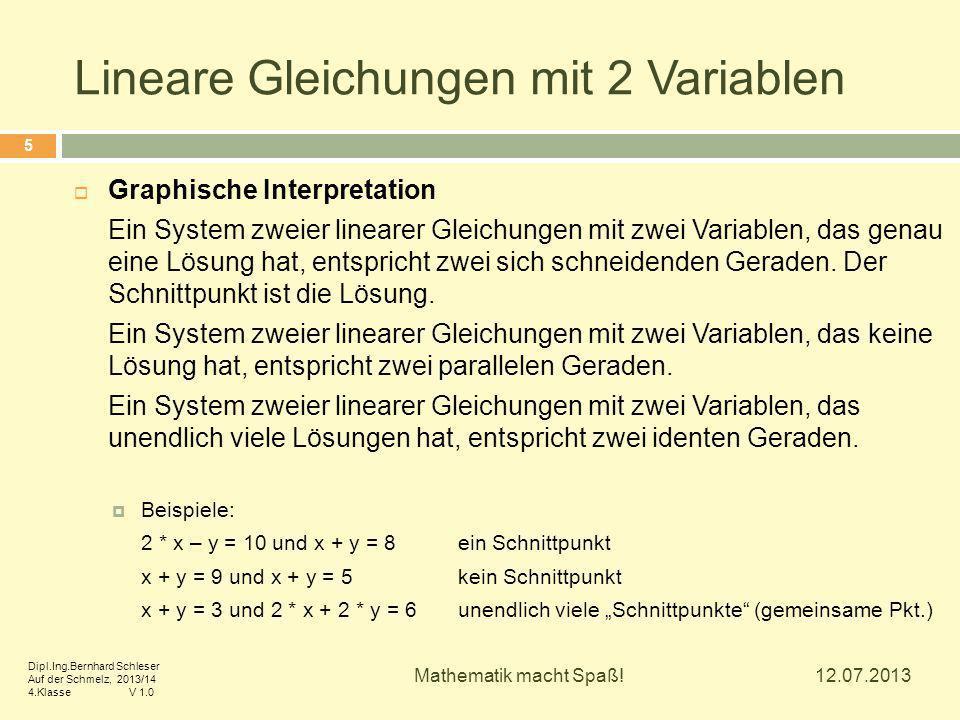 Lineare Gleichungen mit 2 Variablen  Graphische Interpretation Ein System zweier linearer Gleichungen mit zwei Variablen, das genau eine Lösung hat, entspricht zwei sich schneidenden Geraden.